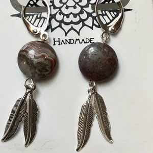 Casey Keith Design Jewelry - Feathered Laguna Agate Earrings